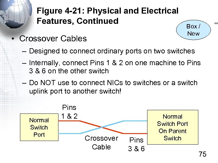 Figure 4 -21: Physical and Electrical Features, Continued • Crossover Cables Box / New