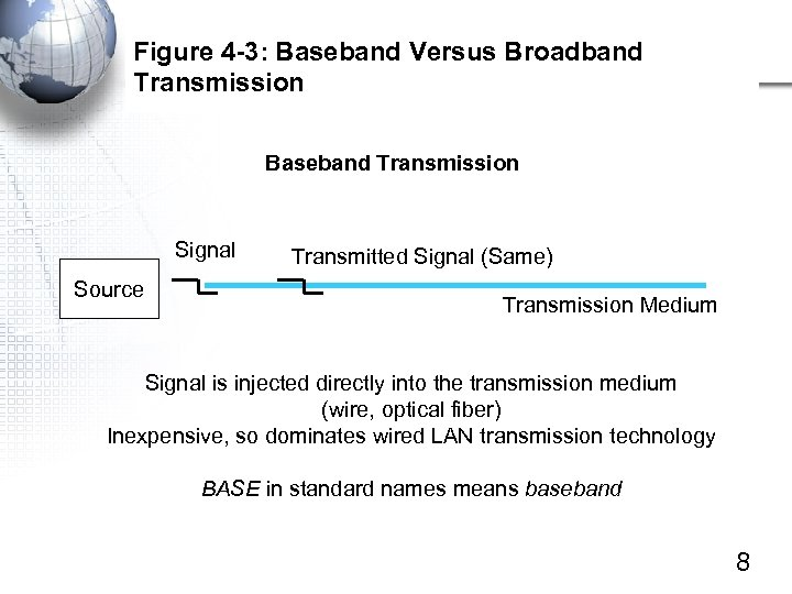 Figure 4 -3: Baseband Versus Broadband Transmission Baseband Transmission Signal Source Transmitted Signal (Same)