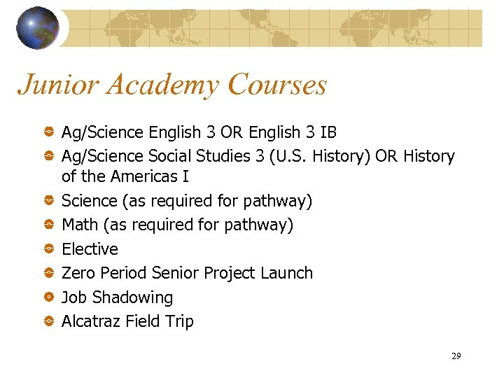 Junior Academy Courses Ag/Science English 3 OR English 3 IB Ag/Science Social Studies 3