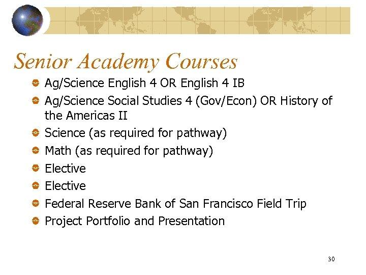Senior Academy Courses Ag/Science English 4 OR English 4 IB Ag/Science Social Studies 4