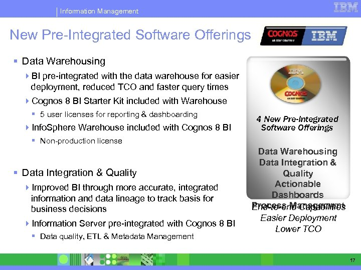 Information Management New Pre-Integrated Software Offerings § Data Warehousing 4 BI pre-integrated with the