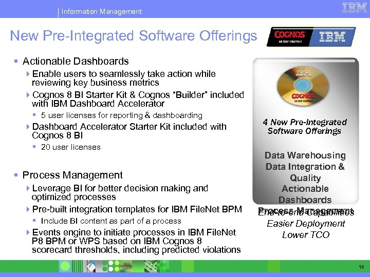 Information Management New Pre-Integrated Software Offerings § Actionable Dashboards 4 Enable users to seamlessly