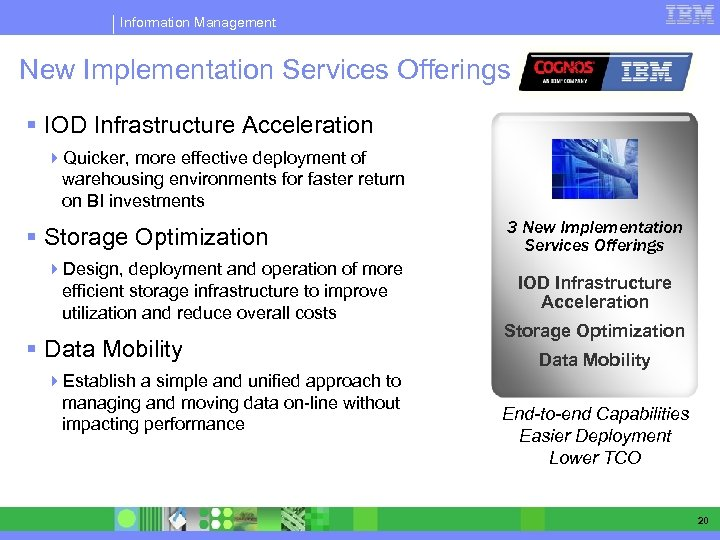 Information Management New Implementation Services Offerings § IOD Infrastructure Acceleration 4 Quicker, more effective