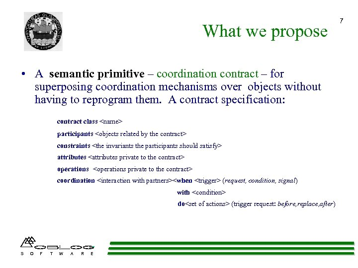 What we propose • A semantic primitive – coordination contract – for superposing coordination