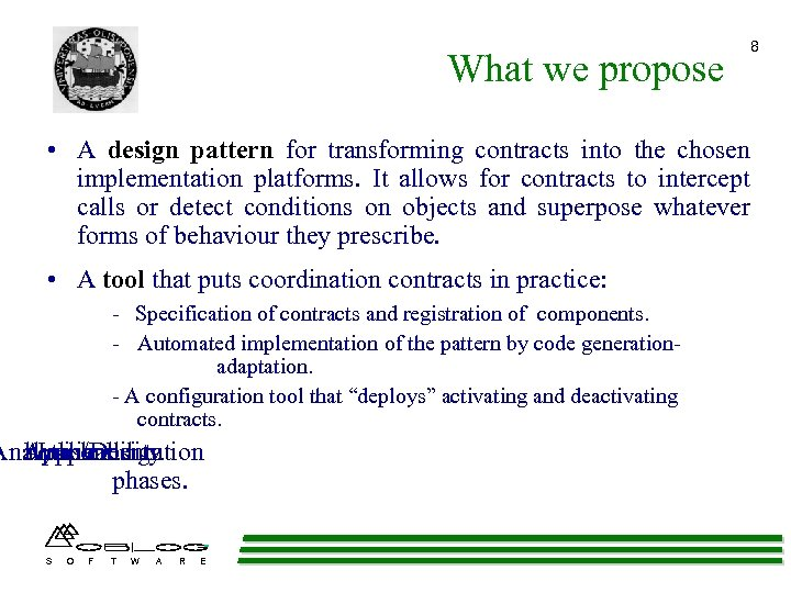 What we propose • A design pattern for transforming contracts into the chosen implementation