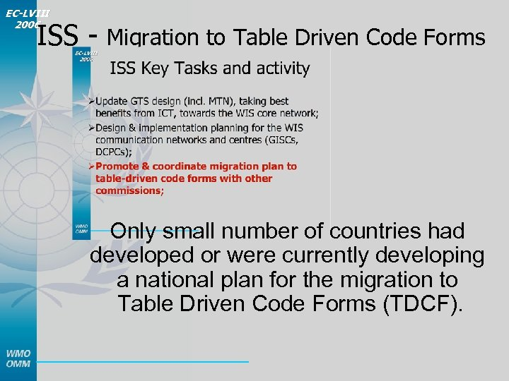 EC-LVIII 2006 ISS - Migration to Table Driven Code Forms Only small number of