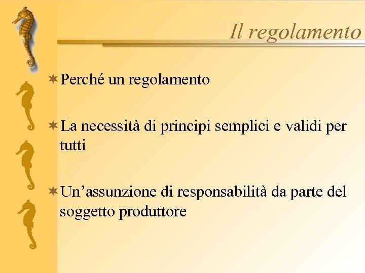 Il regolamento ¬Perché un regolamento ¬La necessità di principi semplici e validi per tutti