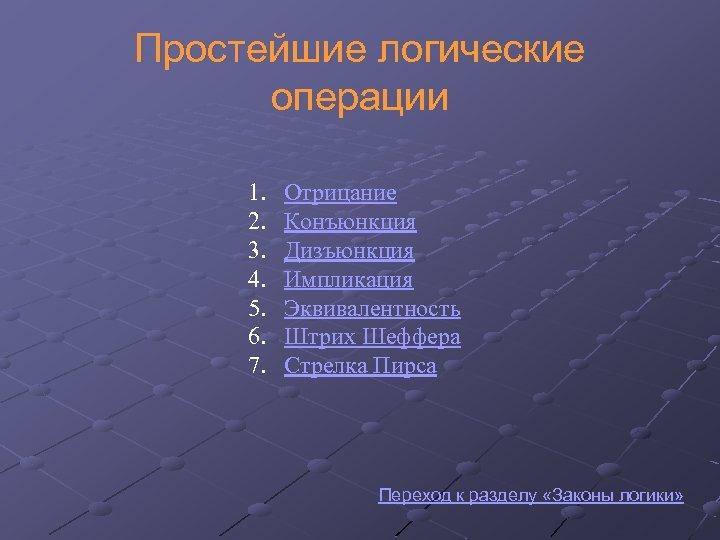 Простейшие логические операции 1. 2. 3. 4. 5. 6. 7. Отрицание Конъюнкция Дизъюнкция Импликация