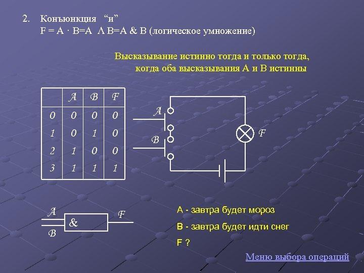"""2. Конъюнкция """"и"""" F = A · B=A Λ B=A & B (логическое умножение)"""