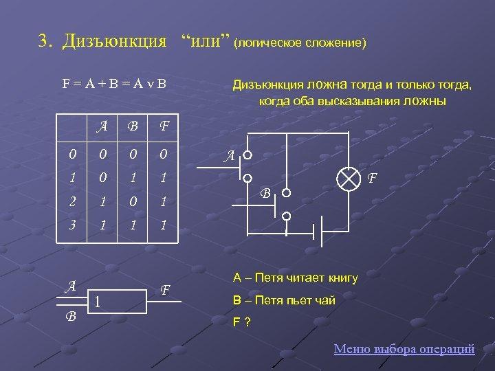 """3. Дизъюнкция """"или"""" (логическое сложение) F = A + B = A v B"""