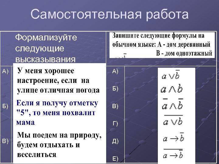 Самостоятельная работа Формализуйте следующие высказывания А) А) Б) Б) В) Г) В) Д) Е)