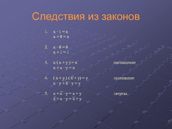 Следствия из законов 1. x · 1 = x x + 0 = x