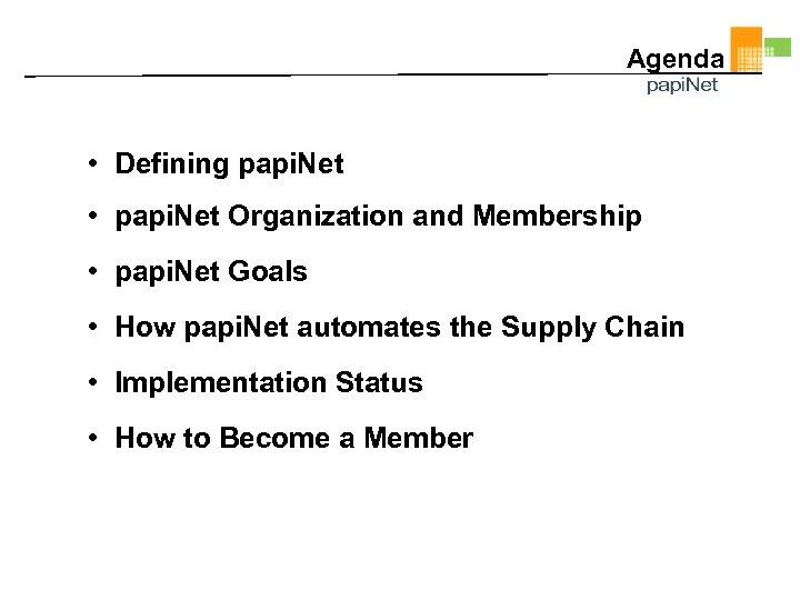 Agenda • Defining papi. Net • papi. Net Organization and Membership • papi. Net
