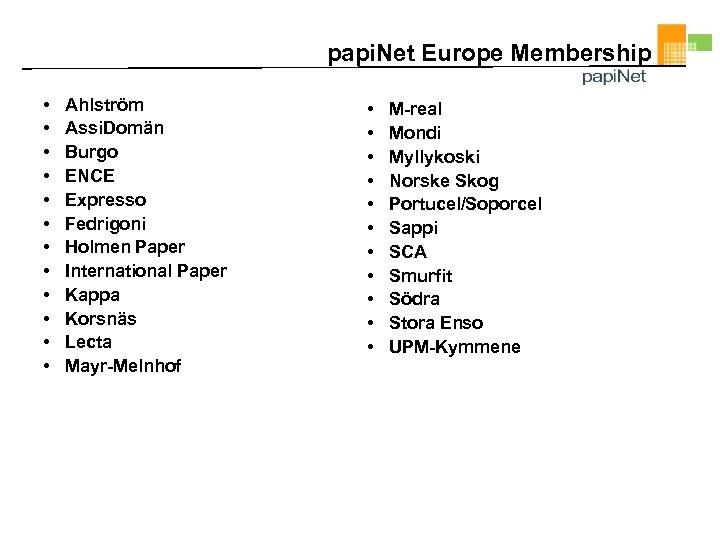papi. Net Europe Membership • • • Ahlström Assi. Domän Burgo ENCE Expresso Fedrigoni