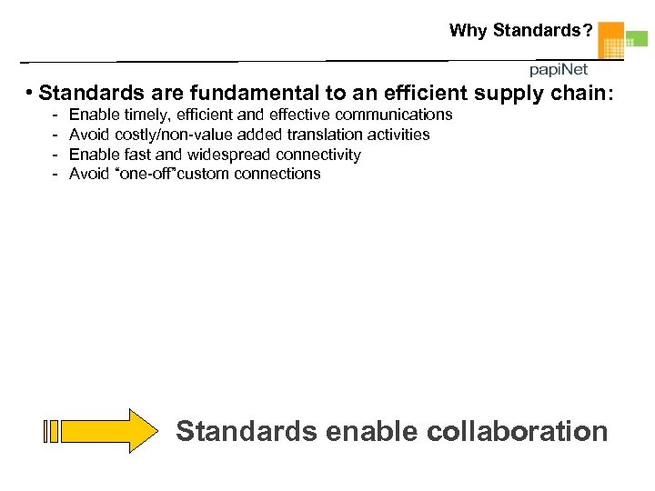 Why Standards? • Standards are fundamental to an efficient supply chain: - Enable timely,