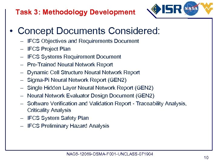 Task 3: Methodology Development • Concept Documents Considered: – – – – – IFCS