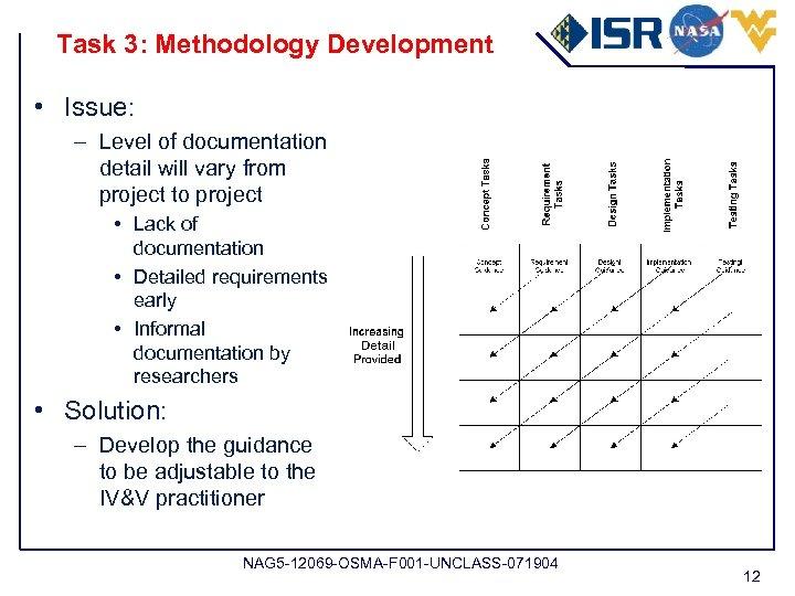 Task 3: Methodology Development • Issue: – Level of documentation detail will vary from