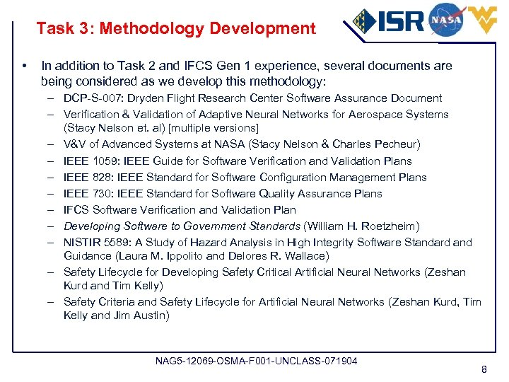 Task 3: Methodology Development • In addition to Task 2 and IFCS Gen 1