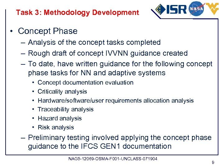 Task 3: Methodology Development • Concept Phase – Analysis of the concept tasks completed