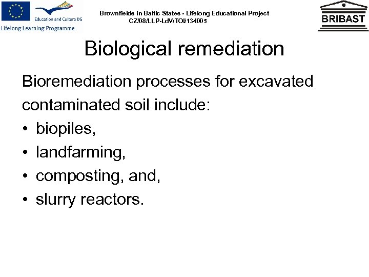 Brownfields in Baltic States - Lifelong Educational Project CZ/08/LLP-Ld. V/TOI/134005 Biological remediation Bioremediation processes