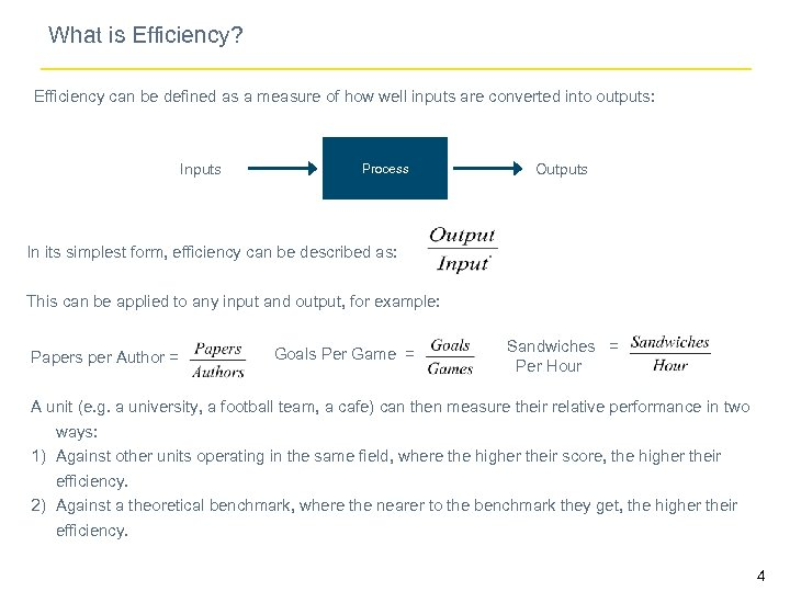 What is Efficiency? Efficiency can be defined as a measure of how well inputs