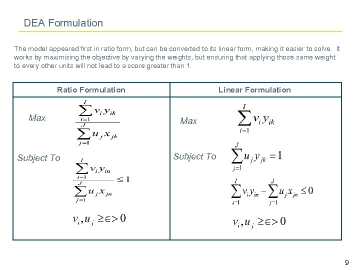 DEA Formulation The model appeared first in ratio form, but can be converted to