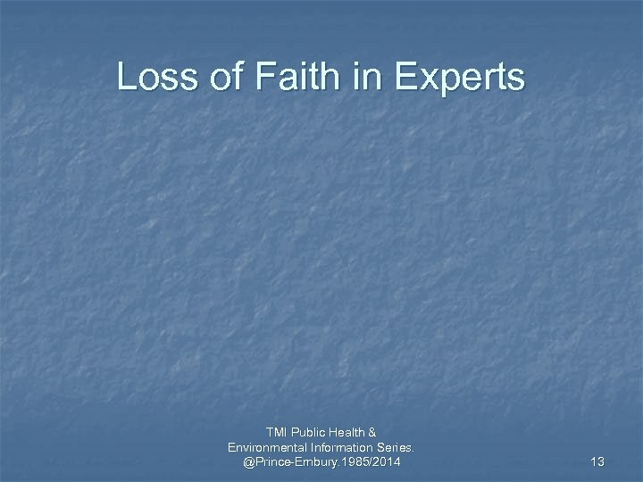 Loss of Faith in Experts TMI Public Health & Environmental Information Series. @Prince-Embury. 1985/2014