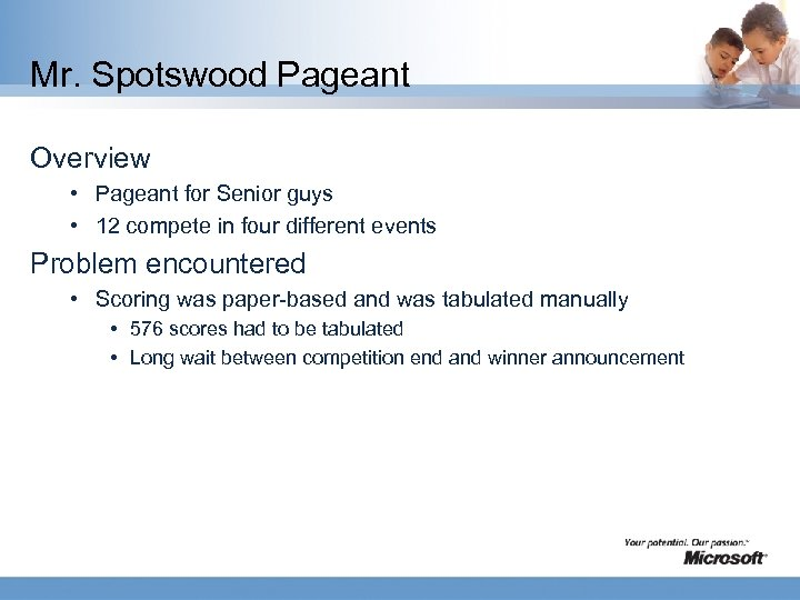 Mr. Spotswood Pageant Overview • Pageant for Senior guys • 12 compete in four