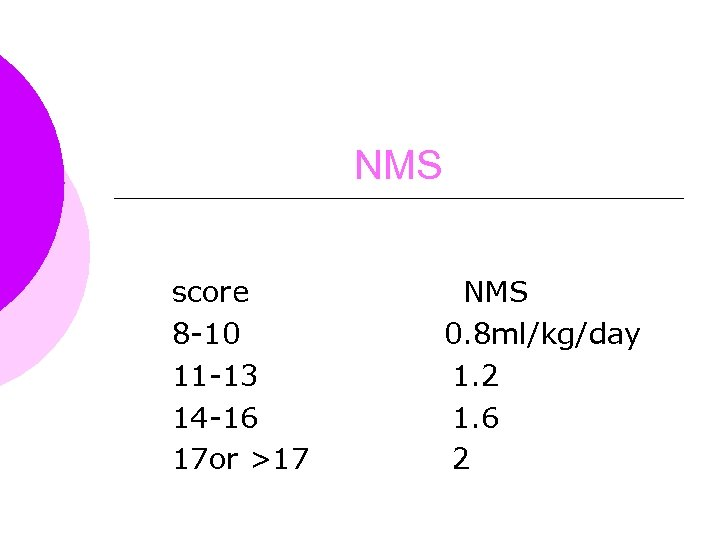 NMS score 8 -10 11 -13 14 -16 17 or >17 NMS 0. 8