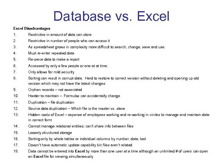 Database vs. Excel Disadvantages 1. Restrictive in amount of data can store 2. Restrictive