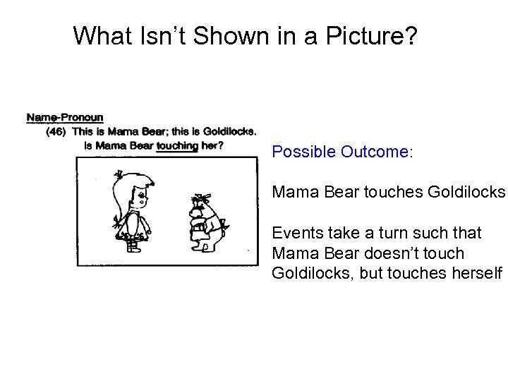 What Isn't Shown in a Picture? Possible Outcome: Mama Bear touches Goldilocks Events take