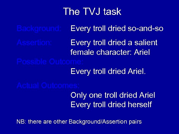 The TVJ task Background: Every troll dried so-and-so Assertion: Every troll dried a salient