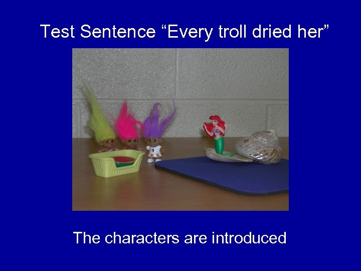 "Test Sentence ""Every troll dried her"" The characters are introduced"