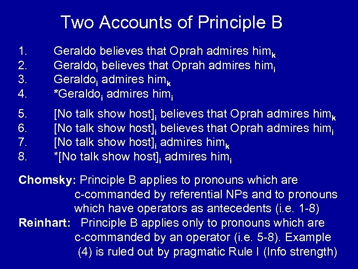 Two Accounts of Principle B 1. 2. 3. 4. Geraldo believes that Oprah admires