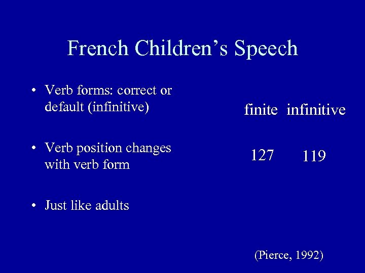 French Children's Speech • Verb forms: correct or default (infinitive) • Verb position changes