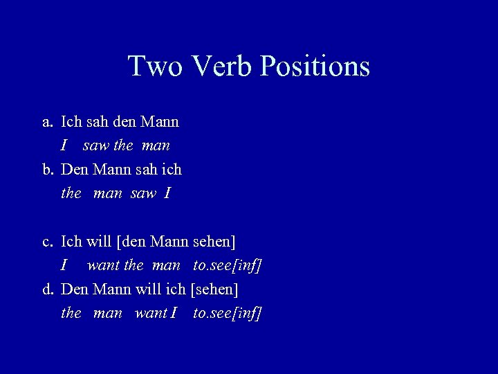 Two Verb Positions a. Ich sah den Mann I saw the man b. Den