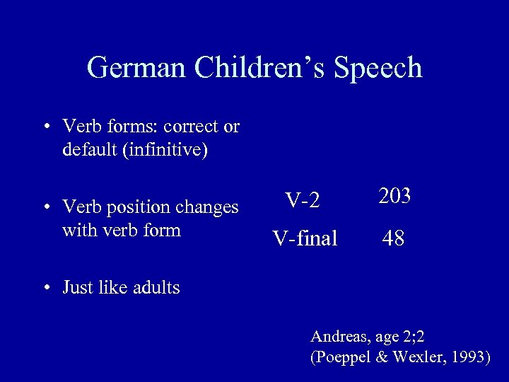 German Children's Speech • Verb forms: correct or default (infinitive) • Verb position changes