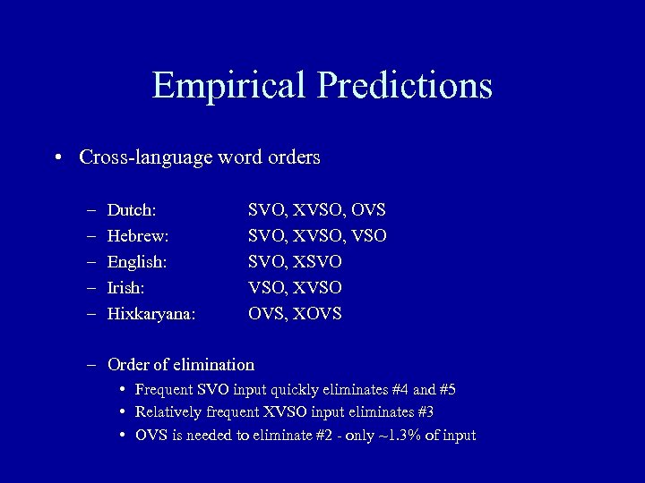 Empirical Predictions • Cross-language word orders – – – Dutch: Hebrew: English: Irish: Hixkaryana: