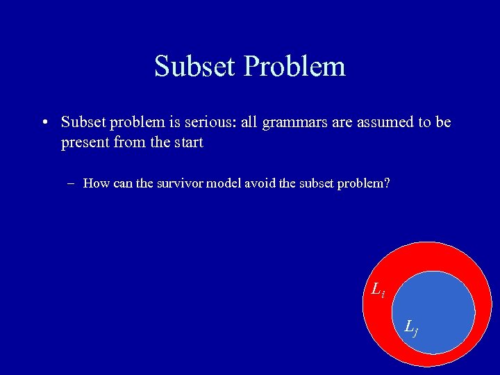 Subset Problem • Subset problem is serious: all grammars are assumed to be present