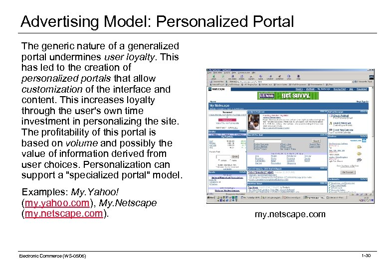 Advertising Model: Personalized Portal The generic nature of a generalized portal undermines user loyalty.