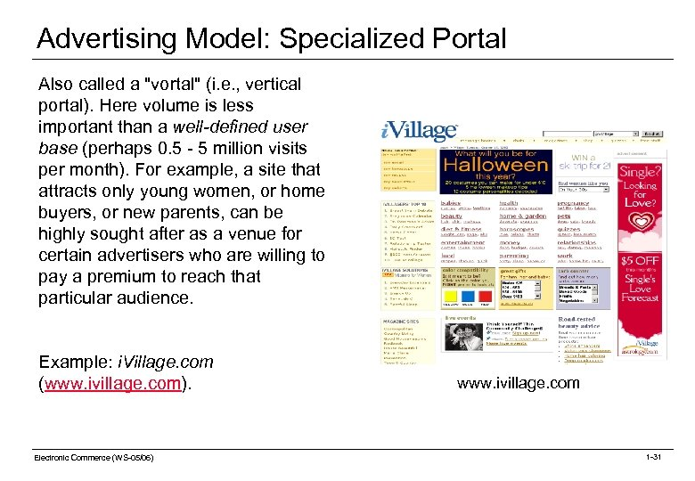 Advertising Model: Specialized Portal Also called a