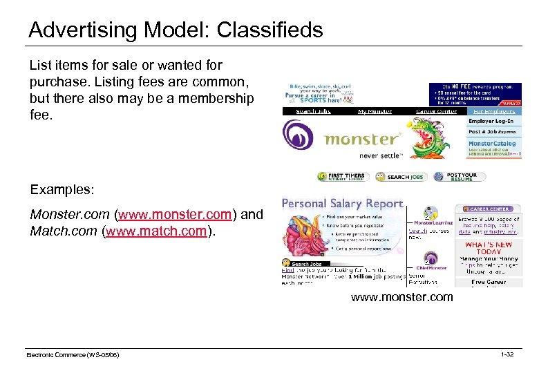 Advertising Model: Classifieds List items for sale or wanted for purchase. Listing fees are