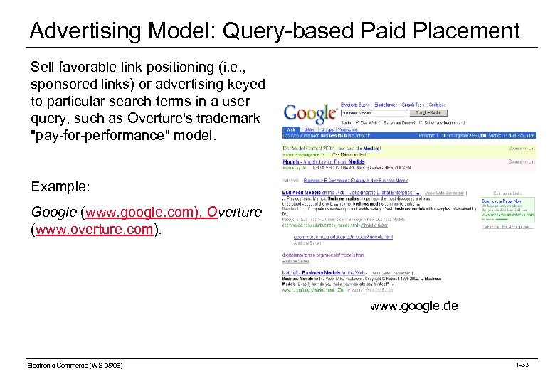 Advertising Model: Query-based Paid Placement Sell favorable link positioning (i. e. , sponsored links)