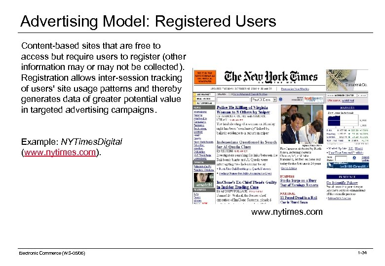 Advertising Model: Registered Users Content-based sites that are free to access but require users