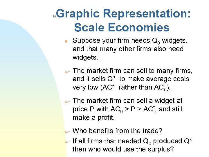 Graphic Representation: Scale Economies 10 n $ $ Suppose your firm needs Q 0