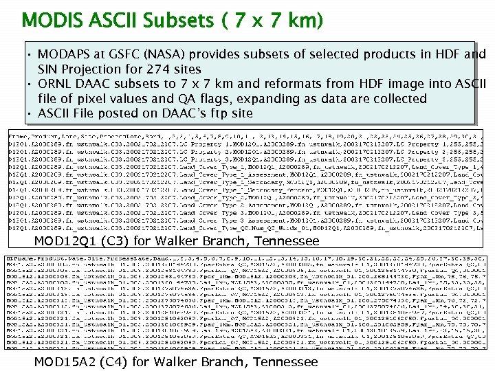 MODIS ASCII Subsets ( 7 x 7 km) • MODAPS at GSFC (NASA) provides