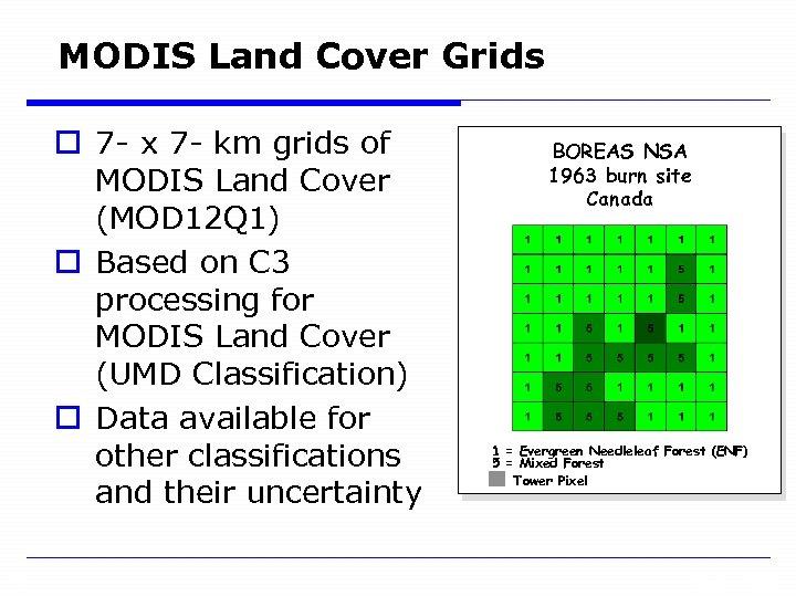 MODIS Land Cover Grids o 7 - x 7 - km grids of MODIS