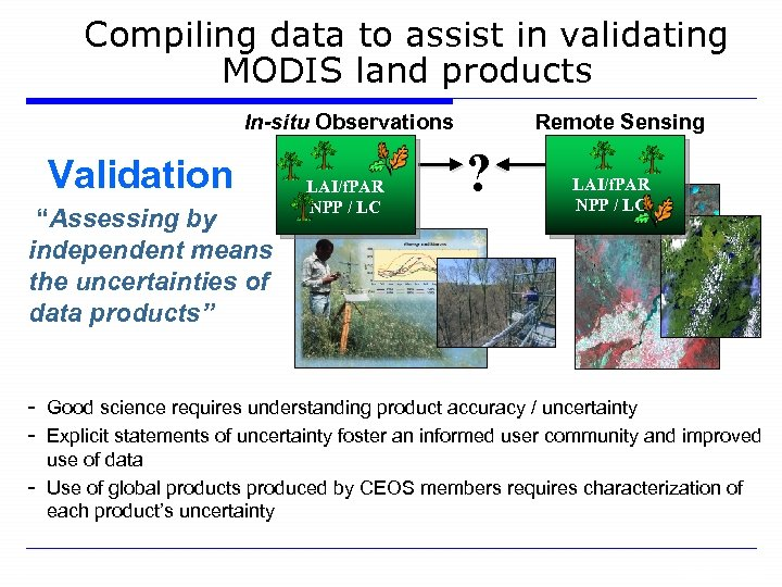 """Compiling data to assist in validating MODIS land products In-situ Observations Validation """"Assessing by"""