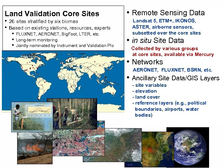 Land Validation Core Sites • 26 sites stratified by six biomes • Based on