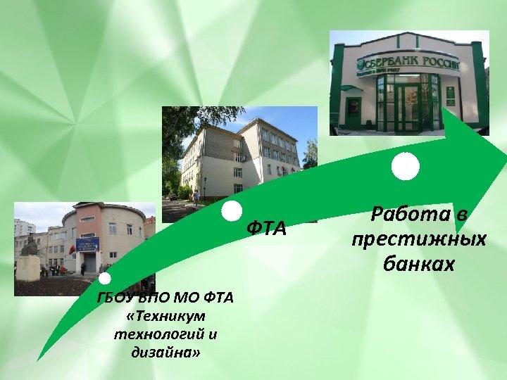 ФТА ГБОУ ВПО МО ФТА «Техникум технологий и дизайна» Работа в престижных банках